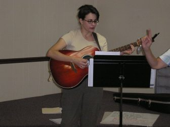 Kathy leads junior high in music