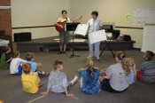 Kathy and Ellen Mast teaching a new song
